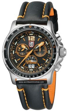 Luminox F-35 Lightning II Quartz Chronograph wrist watch on a black leather strap
