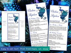 Peacock Wedding Program Word Template | Blue Green Peacock Flourish Feathers Ceremony Program | Printable Tea Length Wedding Program by PaintTheDayDesigns, $10.00