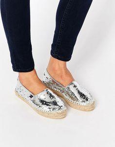 SHOP   Silver toes, sequin espadrilles
