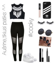 """""""💓"""" by martynaaustebff ❤ liked on Polyvore featuring River Island, adidas, NIKE, Manic Panic NYC, NARS Cosmetics, Gucci, Marc Jacobs and WithChic"""