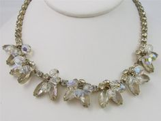 Vintage Clear Rhinestone & AB Dangle Crystal Ball Gold Tone Necklace