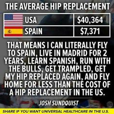 """The cost of an average hip replacement in the US vs. Spain: $40K vs. $7K. That means I can literally fly to Spain, live in Madrid for two years, learn Spanish, run with the bulls, get trampled, get my hip replaced again, and fly home for less than the cost of a hip replacement in the US."""" - Josh Sundquist"""