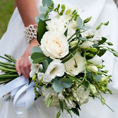 White Roses, Lisianthus Agapanthus hand tied bouquet #weddingbouquet #bouquet