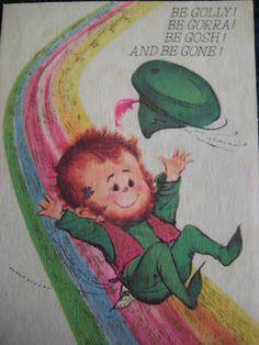 vintage greeting card Norcross St Patricks Day Leprechaun rainbow pot of gold Saint Patricks Day Art, St Patricks Day Cards, Vintage Greeting Cards, Vintage Ephemera, Pot Of Gold, Luck Of The Irish, St Pattys, Vintage Holiday, Leprechaun