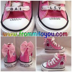 Custom Converse by From Mi To You. www.frommitoyou.com #junkchucks #customconverse Custom Converse, Custom Shoes, Embellished Shoes, Girl Gifts, Converse Chuck Taylor, Diy Ideas, Footwear, Bling, Crafty