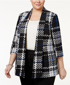 JM Collection Plus Size Animal-Print Jacket, Only at Macy s Plus Sizes -  Jackets   Blazers - Macy s 3a42654901