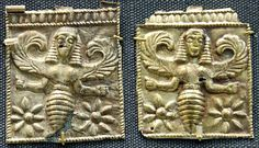 Bee Goddess ornaments from Camiros, Island of Rhodes (off the southwest coast of Turkey). Beekeeping with Apis mellifera is thought to have originated in this area and then spread to Egypt and other areas. Bees as female deities is a common theme in many cultures and areas of the world. Honey bee society is organized around a central queen, with the female worker bees as builders of the hive
