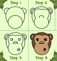 Steps to draw a cartoon monkey