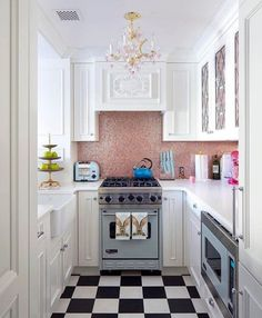 Inside the World of Paul Feig's Playful Upper East Side Apartment - Architectural Digest Decor, Grey Painted Cabinets, Small Kitchen, Colorful Apartment, Upper East Side Apartment, Kitchen Decor, Fabulous Kitchens, Home Decor, Architectural Digest