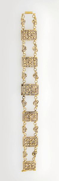 "Gold Mamluk Filigree Bracelet - AD.118, Origin: Egypt or Syria, Circa: 13 th Century AD to 16 th Century AD, Dimensions: 8.2"" (20.8cm) high, Collection: Islamic Art, Style: Mamluk, Medium: Gold."