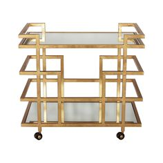 """This lovely bar cart features a linear design with a gold leaf frame. The cart is finished off with mirrored shelves. It measures 36""""W X 22""""D X 32""""H. Click on images for greater detail.Designers, plea"""