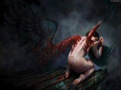 Fantasy Dark and Gothic Art on We Heart It Dark Angel Wallpaper, Scary Wallpaper, Gothic Wallpaper, Dark Fantasy Art, Dark Gothic Art, Dark Angel Wings, Angel And Devil, Evil Angel, Angels And Demons