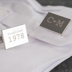 Engraved Cufflinks - Initials And Year, A Stylish Gift For Him | GettingPersonal.co.uk