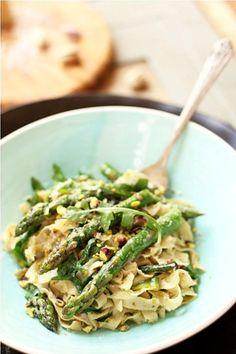 www.onetribegourmet.com    Homemade Tagliatelle with Asparagus, Arugula & Pistachios