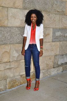 Amazing Ensemble with Blazer, ombre button up,  and skinnies
