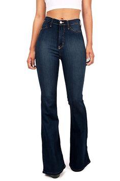 Vibrant Women's Juniors Bell Bottom High Waist Fitted Denim Jeans at Amazon Women's Jeans store