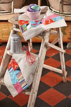 Holiday Hostess patchwork tea towels or napkins by Julie Rutter for issue 15 of Love Patchwork & Quilting magazine