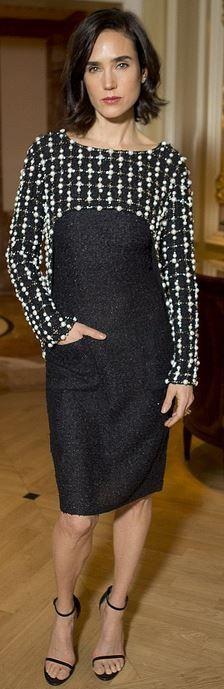Who made Jennifer Connelly's black print dress? Dress – Chanel