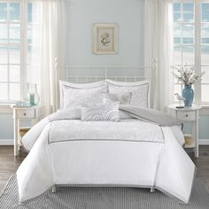 Create a seaside oasis with this beautifully embroidered bedding collection. The…
