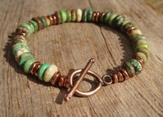Green Turquoise Bracelet  turquoise and copper by kudzupatch, $50.00