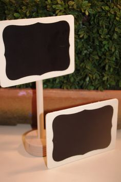 DIY craft idea: unfinished wood pieces from craft store + chalkboard paint or chalkboard Contact paper cut-out shapes