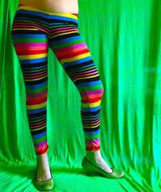 Rainbow Brite stripe leggings by madebyjulianne on Etsy
