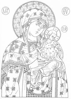 Religious Images, Religious Icons, Religious Art, Colouring Pages, Adult Coloring Pages, Coloring Sheets, Madonna, Best Icons, Art Icon