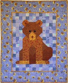 """Bear Patchwork Quilt Pattern: """"Grimsley"""" is a cuddly little bear."""