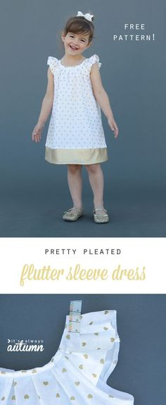 Sewing Patterns Free this dress is adorable! free pattern in size and great step by step sewing tutorial - Free printable pattern for a pleated neck, flutter sleeve dress. Little girls size Great step by step sewing tutorial as well! Kids Patterns, Sewing Patterns Free, Free Sewing, Free Pattern, Pattern Sewing, Pattern Drafting, Sewing Kids Clothes, Sewing For Kids, Diy Clothes