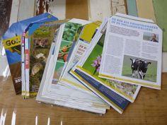 Wanneer ik op een markt of fair sta gebruik ik mijn eigengemaakte verpakkingsenveloppen van oude folders en tijdschriften als verpakking voor aankopen door klanten.