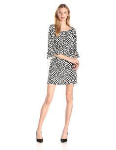3/4 Sleeve Printed Shift Peasant Dress by MSK