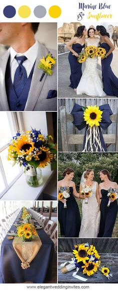 Marine blue and sunflower rustic country wedding ideas #WeddingIdeasDresses