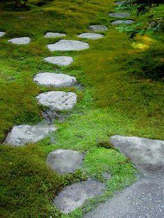 Stepping Stones: path in moss, Japanese Garden, Arboretum, Seattle, Washington, USA. Photo by kenofseattle, via Flickr