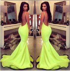 Lime green mermaid prom dress