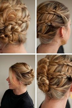 three bun braid.