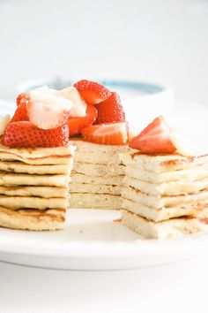 These high-protein pancakes are made with just three simple ingredients - bananas eggs and coconut flour - and pack a healthful punch. Coconut Flour Pancakes, Pancakes Easy, Keto Pancakes, Buttermilk Pancakes, Pancake Muffins, Almond Flour, Banana And Egg, Banana Coconut, Healthy Protein Pancakes