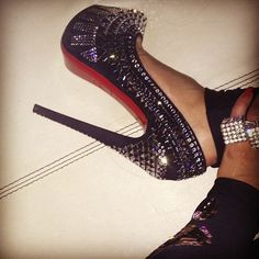 black sparkly high heels