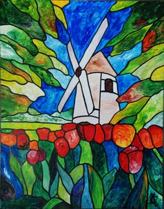 Stained Glass Windmill  11x14 Acrylic Matted & framed $350