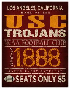 USC Trojans Poster by TheLemonPeel on Etsy.com, $22.00