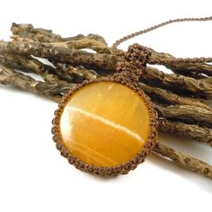 Crystal Jewelry, Yellow Calcite necklace, macrame jewelry, happiness necklace, yellow crystals, womens necklace, healing crystal, Pisces gift, wrapmeacrystal