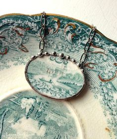 Antique teal English transferware castle broken china jewelry necklace blue green teal