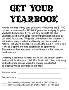 yearbook order form - Google Search | Yearbook Classroom ...