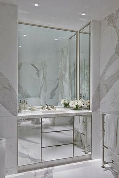 Mirrored and marble. Modern classic.