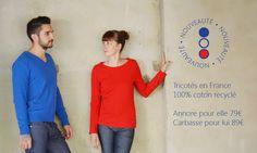 Marque de Vêtements fabriqués en France : Le Tri, Le Tricot, Le Tricolore ! Pull 100% fabriqué en France à partir de ressources locales recyclées et recyclables. L'économe Circulaire.