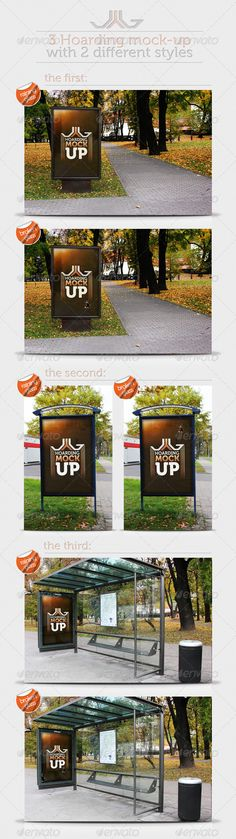 3 Hoarding MockUp — Photoshop PSD #glass #hoarding • Available here → https://graphicriver.net/item/3-hoarding-mockup/726464?ref=pxcr