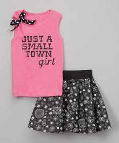 Love this Hot Pink 'Small Town Girl' Tank & Skirt - Infant, Toddler & Girls on #zulily! #zulilyfinds