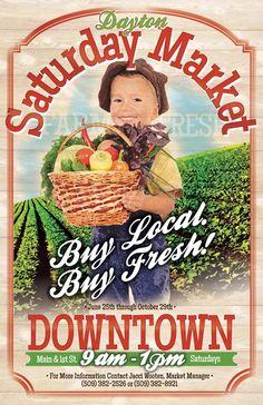 Saturday Market Event Poster Design; Farmers Market, Vintage, Local; Avg. $90-$180