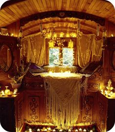 Caravan Gypsy Vardo Wagon: The fairytale interior and beautiful bed of a Gypsy Bohemian Gypsy, Gypsy Style, Bohemian Decor, Bohemian Bedrooms, Gypsy Bedroom, Gypsy Chic, Bohemian Style, Romantic Bedrooms, Bohemian Lifestyle