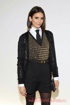 Nina dobrev at ralph lauren fashion show