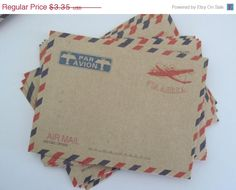 15% off - Set of 10 Vintage Mini Airmail Envelopes Par Avion Via Aerea